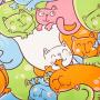 Ткань велюр с рисунком котики