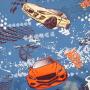 Ткань велюр с рисунком машинки