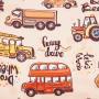 Ткань велюр с рисунком автобусы